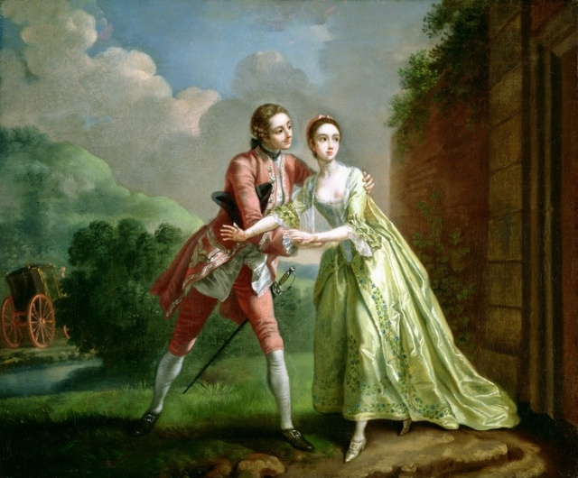 Robert Lovelace preparing to abduct Clarissa by Francis Hayman, Southampton City Art Gallery.