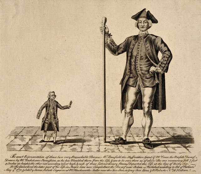 Edward Bamfield or Bamford (1732-1768), the 'Staffordshire Giant', pictured with John Coan (1728-1764), the 'Norfolk Dwarf'. Wellcome Library Images.