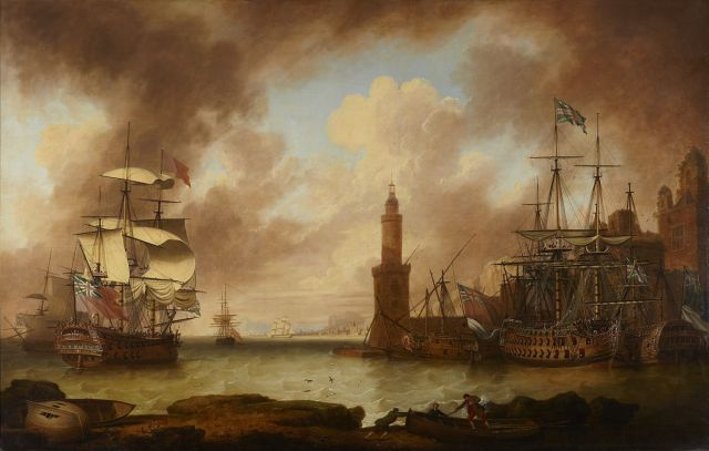 A Squadron of British War vessels in a Mediterranean Port with Captured French Vessels During the Seven Years War.
