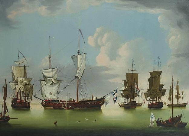 Victorious English Frigates with French Prizes by Richard Wright via Art History Reference.