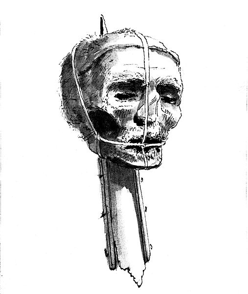 An 18th century image of  Oliver Cromwell's Head