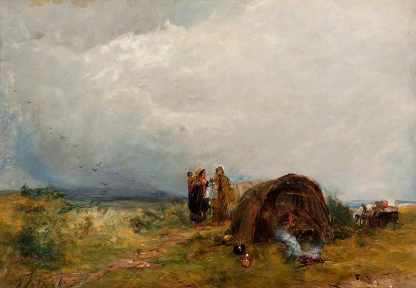 Gypsies in a Landscape by Alexander Fraser (c) Paisley Art Institute Collection, held by Paisley Museum and Art Galleries; Supplied by The Public Catalogue Foundation