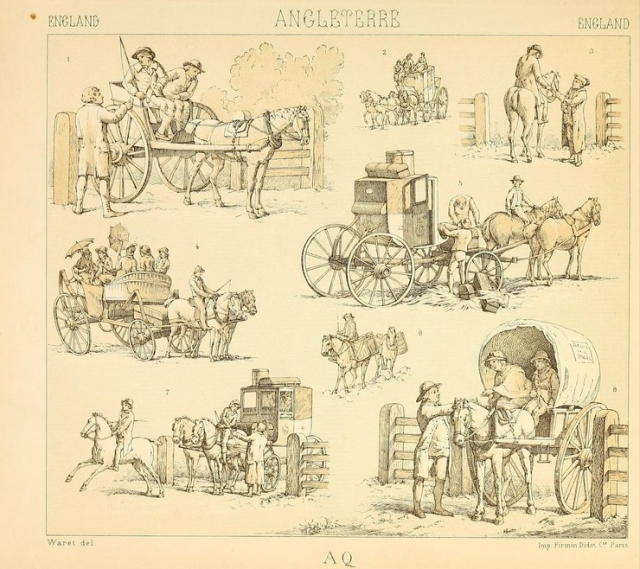 English coaches and carriages from Le Costume Historique.