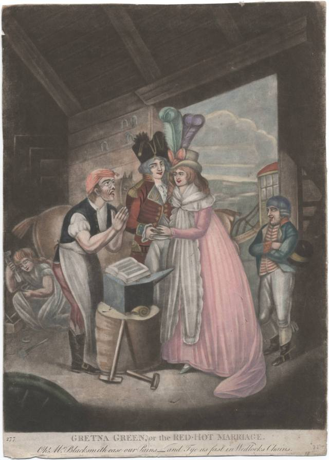 Gretna Green, or, the red-hot marriage, c.1795. Lewis Walpole Library