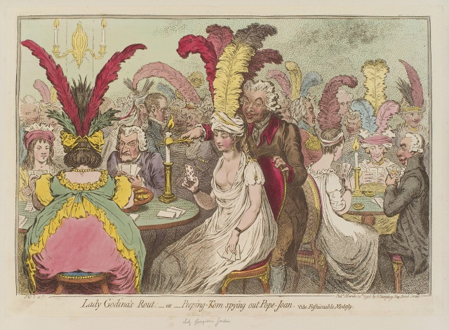 Lady_Godina's_rout;_-_or_-_Peeping-Tom_spying_out_Pope-Joan_by_James_Gillray