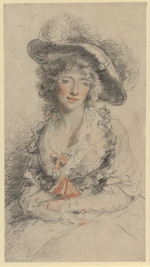 Unidentified lady, thought to be Grace Dalrymple Elliott by John Hoppner, British Museum.