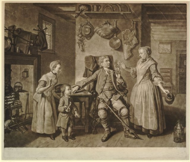 Scene from David Garrick's play 'The Farmer's Return from London. An Interlude'; cottage interior; the actor David Garrick as the Farmer, seated in centre, his right hand on table beside him, his left hand holding his pipe, relating the story of his conversation with the Cock Lane Ghost to his family. British Museum, 1766
