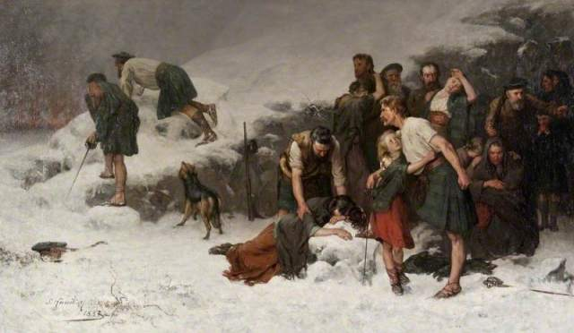 The Massacre of Glencoe by James Hamilton (c) Glasgow Museums. The Massacre of Glencoe took place on 13 February 1692, when government troops slaughtered 38 members of the Clan MacDonald in their homes. Some survivors managed to avoid the attack, as shown in this later painting, and attempted to escape through the snow.