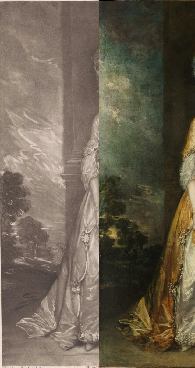 The left hand of the 1779 engraving and Gainsborough's portrait, side-by-side.