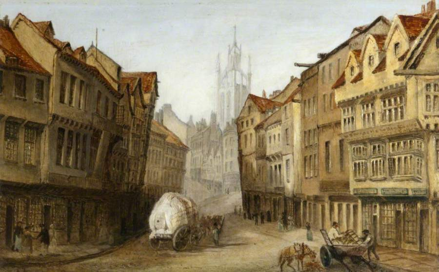 Street Scene, Newcastle upon Tyne; British School; National Trust, Cragside