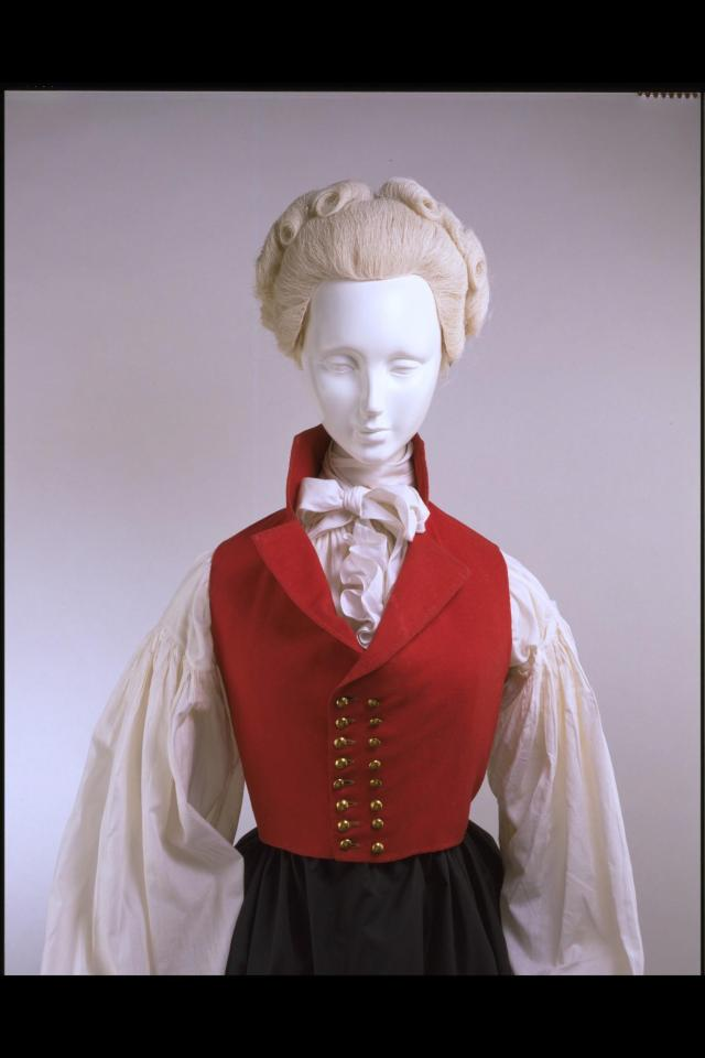 Double-breasted riding waistcoat, c.1790-5. © Victoria and Albert Museum, London