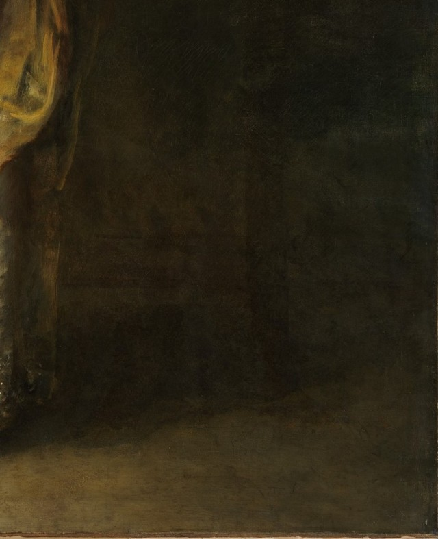 Bottom right hand corner of the Gainsborough portrait - can you see an impression of a dog?