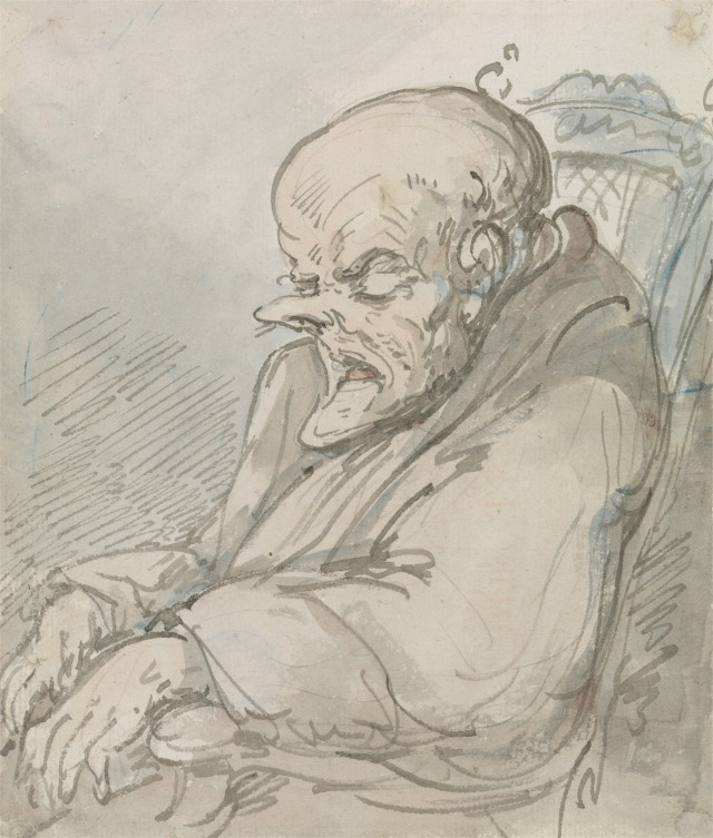 An Old Man with Pointed Nose and Chin, Dozing in a Chair Courtesy of Yale Center for British Art