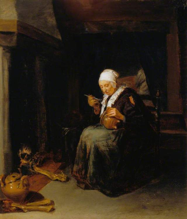 van Brekelenkam, Quiringh; Old Woman Eating; Dulwich Picture Gallery; http://www.artuk.org/artworks/old-woman-eating-200337