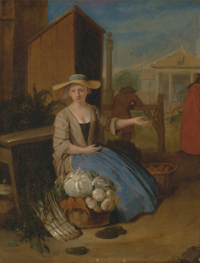 Vegetable seller, Covent Garden market by Pieter Angillis, c.1726. Yale Center for British Art, Paul Mellon Collection