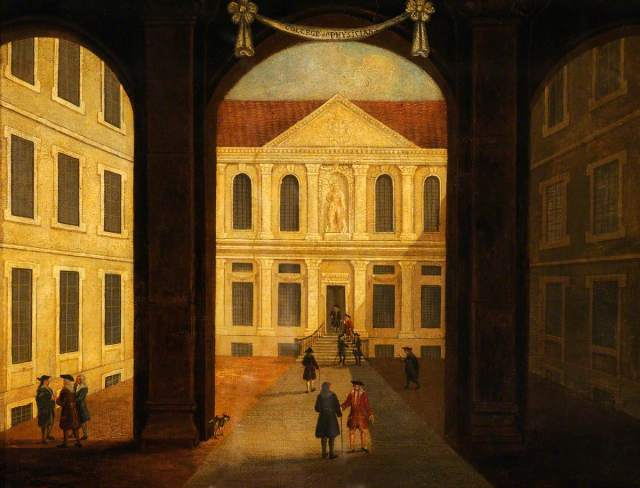 The Royal College of Physicians, Warwick Lane, London: Interior of the Courtyard; after Samuel Wale (1721-1786). Wellcome Library