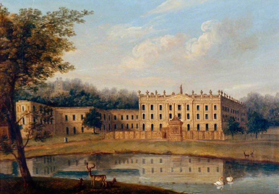 View of Chatsworth Looking across the Lake; British School; Government Art Collection