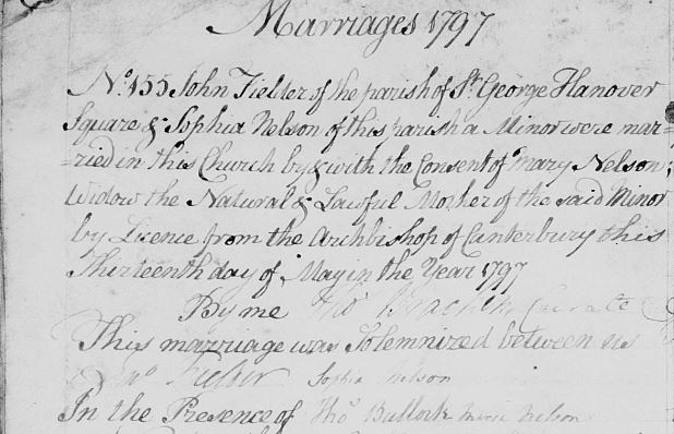 The 1797 marriage record of John Fielder and Sophia Augusta Nelson.