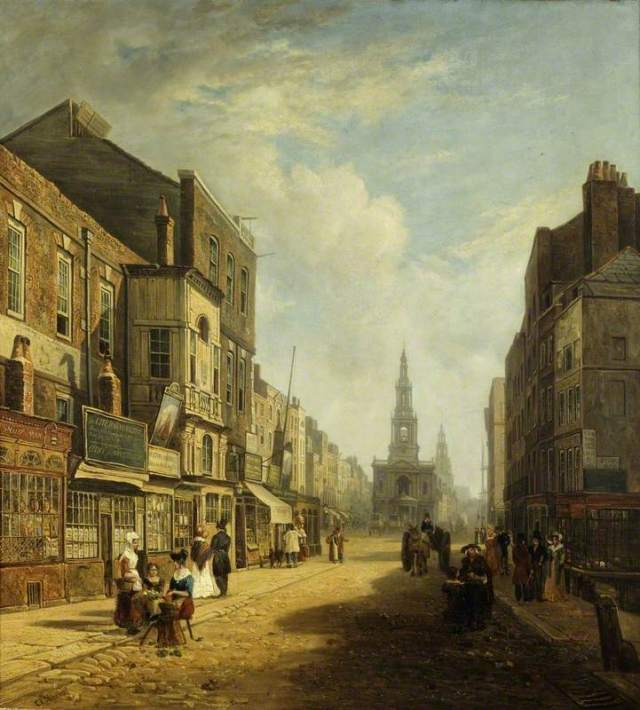 A later depiction of The Strand, Looking Eastwards from Exeter Change, London; Caleb Robert Stanley; Museum of London. Exeter Exchange was a shopping centre. The church in the centre is St Mary-le-Strand and the tower behind it is that of St Clement Danes.