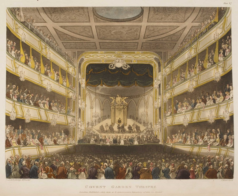 Covent Garden Theatre from Microcosm of London, courtesy of British Library