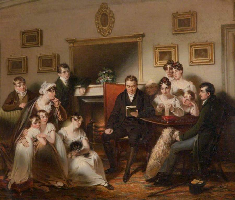 Singleton, Henry; The Pastor's Fireside: The family of Sir Thomas Acland, 10th Bt, Being Read to by the Vicar of Silverton; National Trust, Killerton