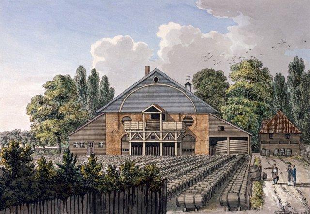Beaufoy's Vinegar Works, Cuper's Gardens, Lambeth by Charles Tomkins, c.1800.