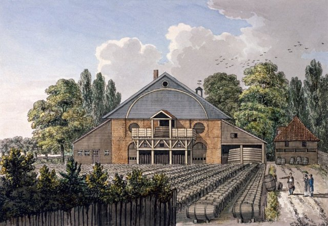Beaufoy's Vinegar Works, Cuper's Gardens, Lambeth by Charles Tomkins, c.1800.