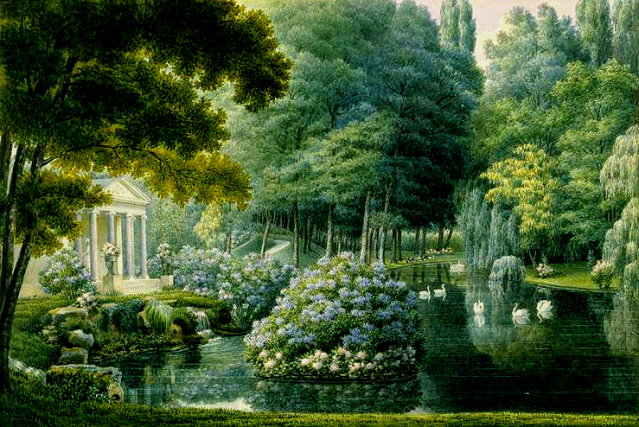 The 'English' garden at Malmaison by Auguste-Siméon Garneray. Musées nationaux de Malmaison, France.