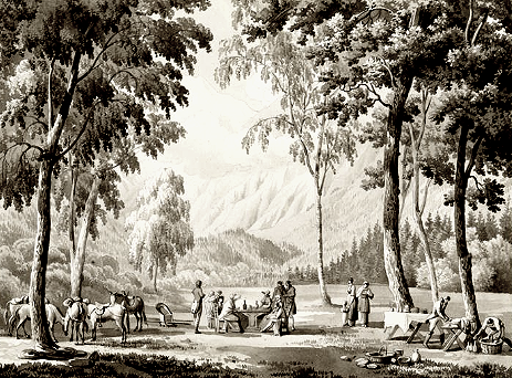Josephine picnicking with her companions at Servoz in the Chamonix valley by Lancelot-Théodore Turpin de Crissé. Musées nationaux de Malmaison, France.