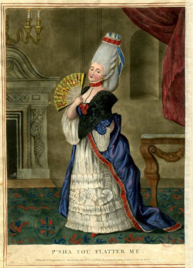 A lady in a fine room dressed in macaroni style with high hair standing in profile to left looks directly out with her fan held open. January or February 1773.