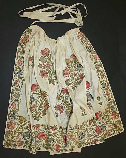 Apron dating back to the first quarter 18th century made from silk, metal thread. Courtesy of The MetMuseum