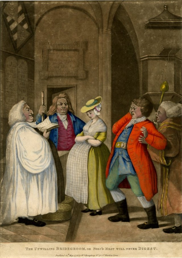The Unwilling Bridegroom or Forc'd Meat will never digest by William Murray, 1778. Courtesy of the British Museum. The apron covering a multitude of sins!