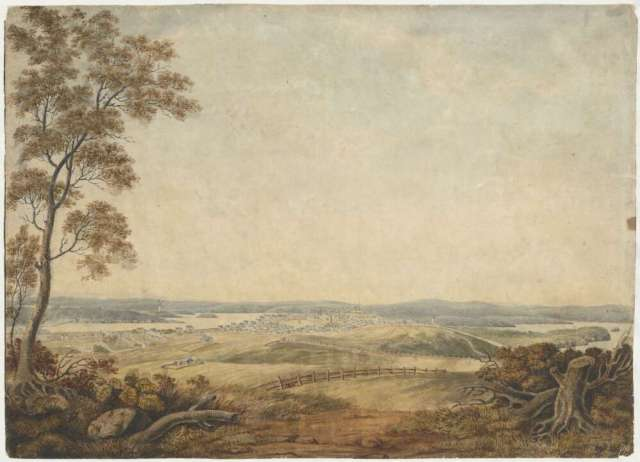 South view of Sydney, New South Wales, 1819, taken from the Surry Hills [picture] / J.L. pinxt. Courtesy of National Library of Australia