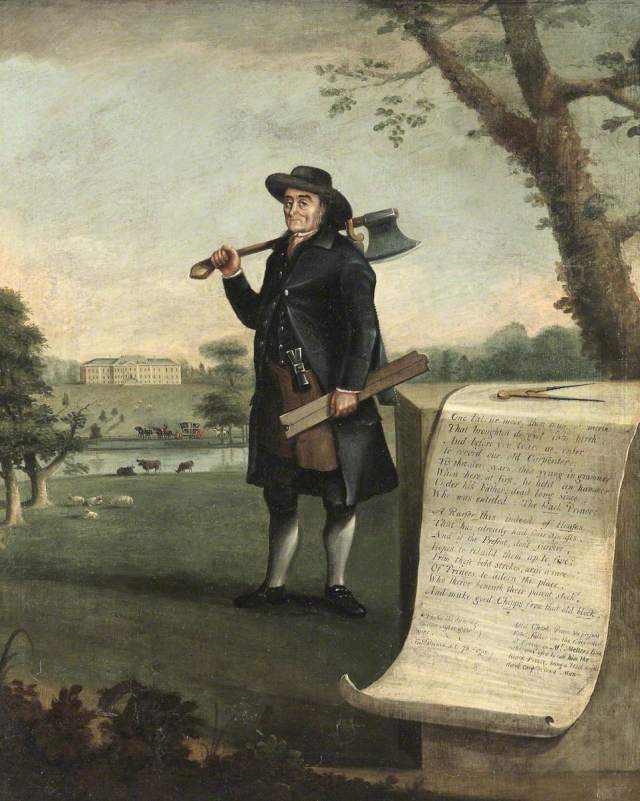 Edward Prince (b.1718/1719), Carpenter, Aged 73 by John Walters. Courtesy of the National Trust, Erddig.  His apron showing the tools of his trade.