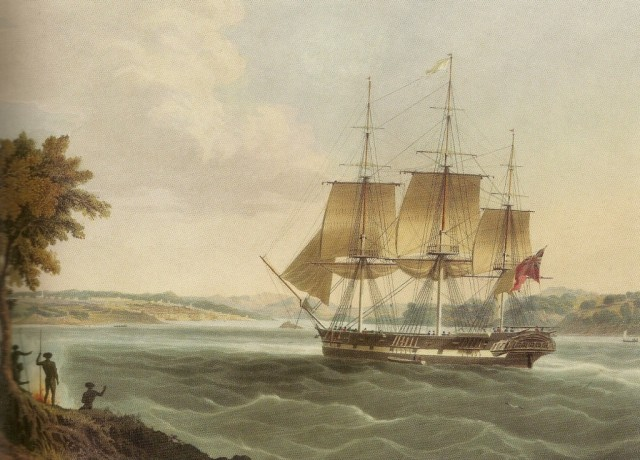 A convict ship entering Sydney harbour. National Library of Australia.