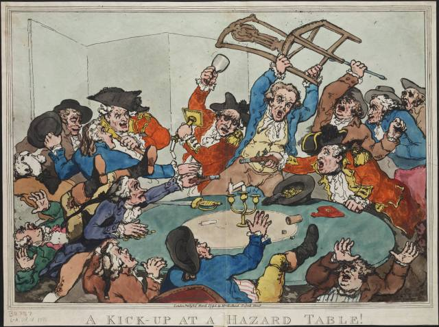 A kick-up at a hazard table! Rowlandson. Courtesy of Lewis Walpole Library
