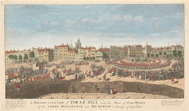 A Perspective View of Tower Hill and the Place of Execution of the Lords Kilmarnock and Balmerino on Monday 18 of August 1746.