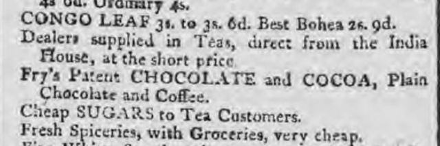 Advert for Frys chocolate - Caledonian Mercury 11 May 1801