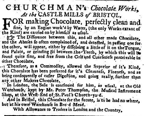 Chocolate advert, 1750