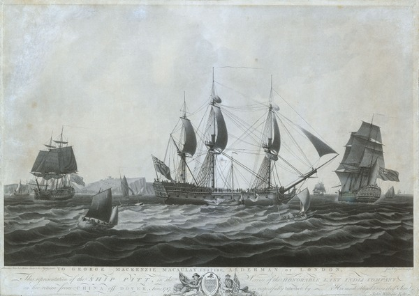 The 'Pitt' near Dover returning from China, 1787. Wikimedia Commons.