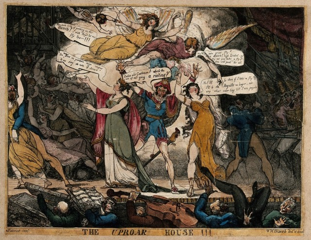 A riot at the King's theatre, Haymarket, London, on 1 May 1813.