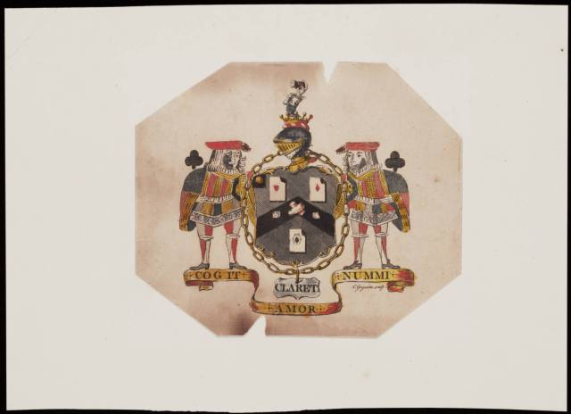 White's Club Coat of Arms by Grignion, Charles, 1721-1810, printmaker. Courtesy of Lewis Walpole Library