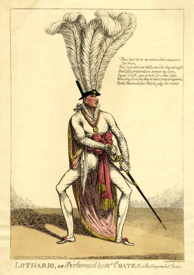 Lothario, as performed by Mr Coates at the Haymarket Theatre Decemr 9th 1811