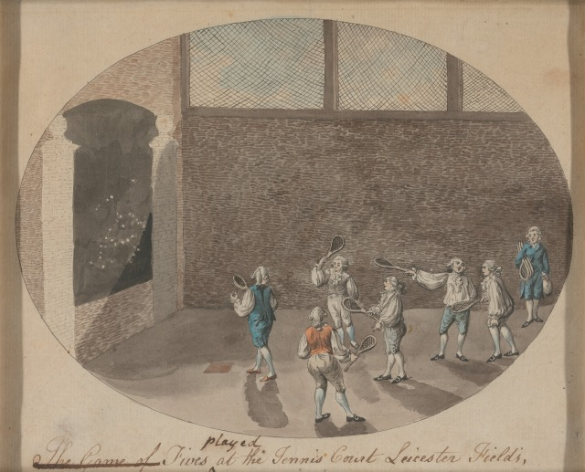 Fives played at The Tennis Court, Leicester Fields by Robert Dighton, c.1784.