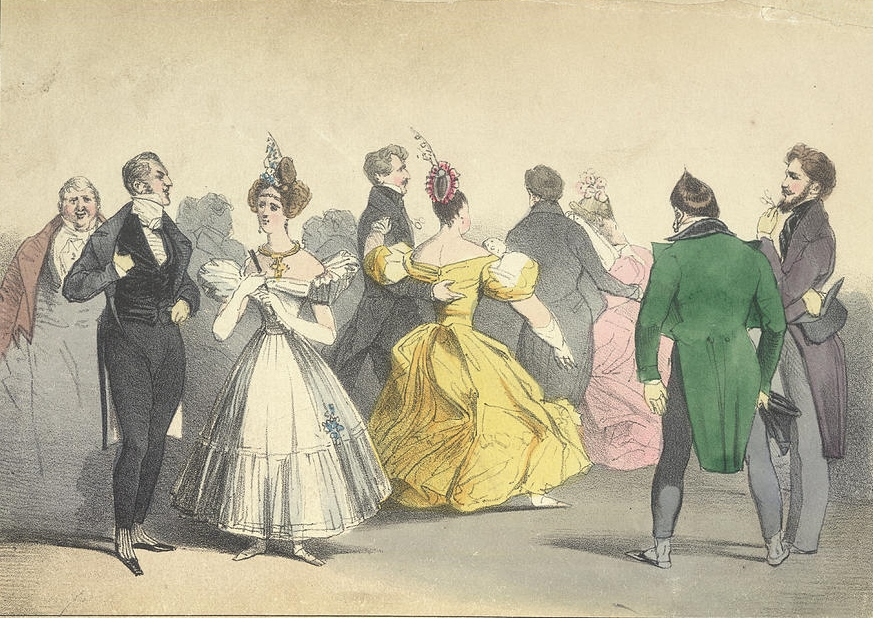 Sketch of a ball at Almack's 1815, from The reminiscences and recollections of Captain Gronow, being anecdotes of the camp, court, clubs and society, 1810-1860. Beau Brummell is to the left, deep in conversation with the Duchess of Rutland.