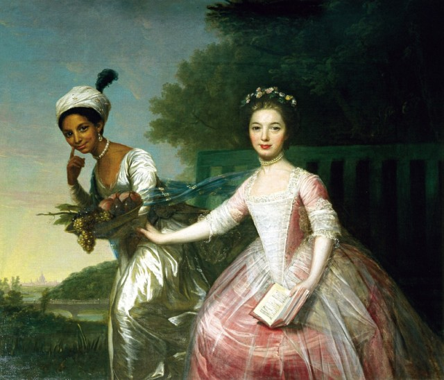 Portrait of Dido Elizabeth Belle Lindsay and her cousin Lady Elizabeth Murray, c.1778. Formerly attributed to Johann Zoffany.