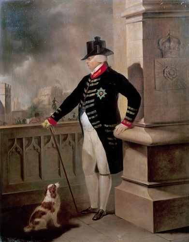 George III on on of Windsor Castle's terraces; Peter Edward Stroehling, c.1807