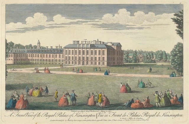 A Front View of the Royal Palace of Kensington, 1751. At the far left, at right angles, stands what is now Apartment 1 which is being renovated for the new Duke and Duchess of Sussex. Linking that to the main palace is the apartment now occupied by the Duke and Duchess of Cambridge, Apartment 1A.