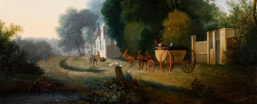 Landscape with Carriage and Horses by William Ashford (1746-1824).