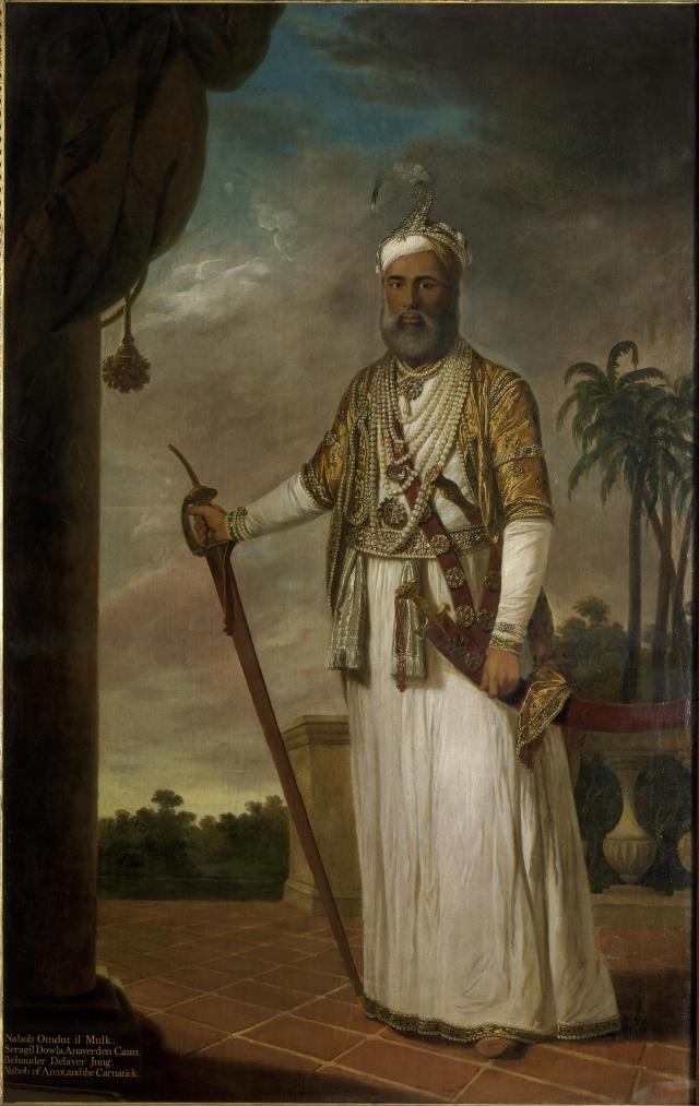 Muhammad Ali Khan, Nawab of Arcot by Tilly Kettle, c.1772-1776. © Victoria and Albert Museum, London